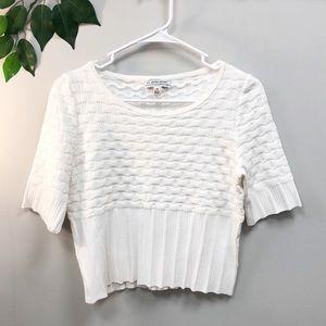 St.John Sport. White knit cropped top Medium